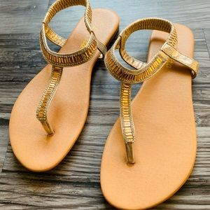 Size 7 Gold Beaded Sandals
